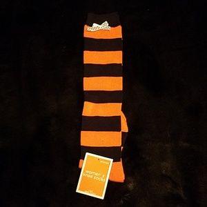 Accessories - Women's Orange and Black Striped Knee Socks